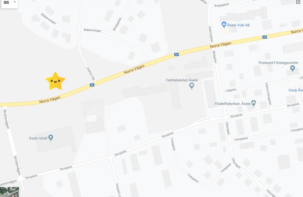 karta över landningsplats